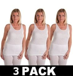 Football Thermals : OCTAVE 3 PACK Ladies Thermal Underwear Sleveless Vest (XS, Ice White) Octave Football Thermal Underwear. $35.90