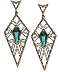 Ali Khan Antique Gold Tone Clear Pave And Green Stone Kite Drop Earrings On Style