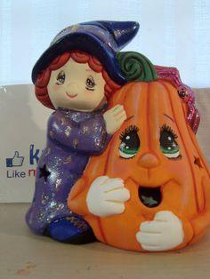 DIY Cómo pintar una brujita en cerámica, para Halloween.