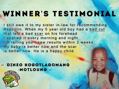 Repcillin helped cure Dineo's son's bad cuts and scarring naturally. How did this natural skin product help you? www.repcillin.com