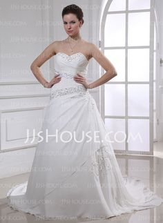 Wedding Dresses - $186.99 - Ball-Gown Sweetheart Chapel Train Chiffon Wedding Dress With Ruffle Lace Beadwork Sequins (002012914) http://jjshouse.com/Ball-Gown-Sweetheart-Chapel-Train-Chiffon-Wedding-Dress-With-Ruffle-Lace-Beadwork-Sequins-002012914-g12914