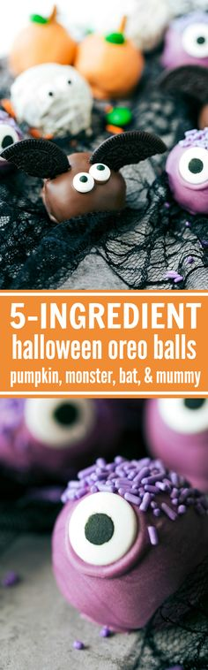 4 adorable and festive Halloween Oreo Balls monsters, pumpkins, bats, and mummies; each made with 5 ingredients or less! via chelseasmessyapron.com Halloween Baking, Halloween Kid Treats, Halloween Dessert Recipes, Halloween Donuts, Holiday Baking, Halloween Cake Pops, Halloween Sweets, Halloween Bags, Halloween Foods