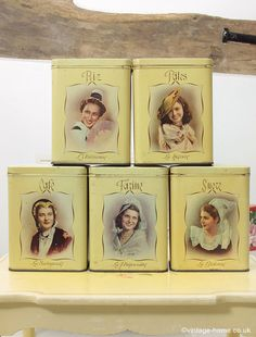 Vintage Home - 1940s French Provincial Storage Tins decorated with Ladies: www.vintage-home.co.uk