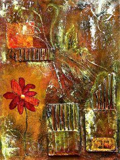 Flowers Grow Anywhere, Artist:Bellesouth Studio, Medium:Mixed Media - Mixed Media On Canvas Panel