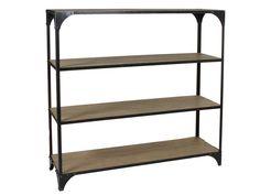 Comprar online estantería industrial de tamaño mediano con estructura hierro color negro y alargadas baldas de madera de abeto con acabado envejecido.