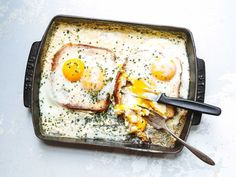 French Baked Toast with Cream and Eggs (Oeufs au Plat Bressanne) Recipe | SAVEUR