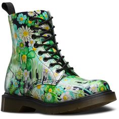 Dr. Martens Slime Floral Pascal Ankle Boots ($105) ❤ liked on Polyvore featuring shoes, boots, ankle booties, green, ankle bootie boots, multi colored boots, floral boots, green booties and bootie boots