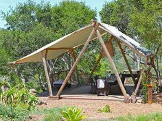Vacation rentals available for short and long term stay on Vrbo. Tent Living, Outdoor Living, Backyard Cabin, Cabin Tent, Gazebo, Pergola, Outdoor Shelters, Bamboo Structure, Bamboo Architecture
