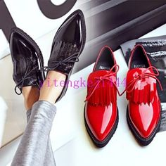 Retro Women Tassel Patent Leather Pointy Toe Brogue Oxfords Shoes New US  All SZ cbf187f4b2ea