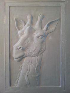 giraffe relief tile in progress by pistrucciartwork.com