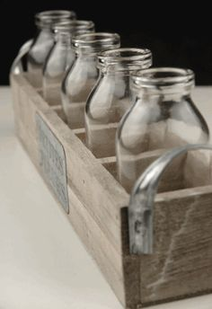 Petites Fleur Wood Crate & 5 Glass Milk Bottles -Website for well made but cheap DIY Wedding stuff!