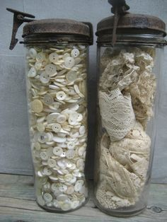 vintage jars full of antique buttons and antique lace!!!