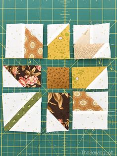 The simple patchwork construction of the Fall Leaves quilt block makes it perfect for the beginner quilter and fun for the experienced quilter to play with their scraps. Patchwork Quilting, Scrappy Quilts, Mini Quilts, Crazy Quilting, Crazy Patchwork, Patchwork Patterns, Star Quilts, Quilt Block Patterns, Quilt Blocks