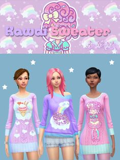 Kawaï sweater - BY NANA - Don't claim as your own ! - If you use it, please tag me and/or link my tumblr profile! ^_^ - Don't reupload! - NON-DEFAULT! Download Have fun ! ∩( ・ω・)∩ (safe cc made with...