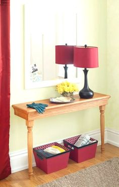 Space-Saving Entry Table This narrow console table is a fitting addition to any entry. Tv Decor, Room Decor, Narrow Console Table, Entry Tables, Sofa Tables, Small Entryways, Entry Hallway, Foyer Decorating, Decorating Ideas