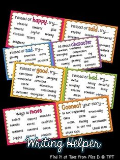 Help students develop their writing skills with this writing helper. The pages can be scaled down and then bound together to create a book or they can be hung up as posters around the room. This resource contains 10 pages; 1) Instead of Happy... 2) Instead of Said... 3) Instead of Good... 4) Instead of Bad... 5) Instead of Sad... 6) All about Character (descriptive words) 7) Ways to Move... 8) Connect your Story (connectives) 9) Know your Homophones 10) Checklist
