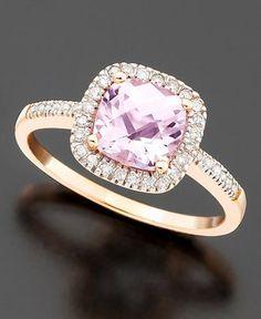14k Rose Gold Pink Amethyst (1 ct. t.w.) & Diamond (1/5 ct. t.w.) Ring $359