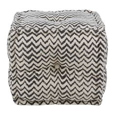 Buy A by Amara Printed Zigzag Cube Pouf - Natural/Black | Amara