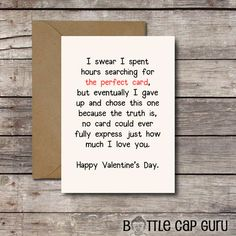 THE PERFECT CARD Happy Valentines Day Romantic Card Printable Valentine For Him Or Her I Love Y Birthday Cards
