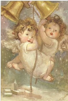 LÁMINAS VINTAGE,ANTIGUAS,RETRO Y POR EL ESTILO.... Vintage Christmas Cards, Vintage Cards, Vintage Postcards, Victorian Christmas, Angel Images, Angel Pictures, Seraph Angel, Angels Among Us, Angel Cards