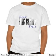 Cutest Ring Bearer Ever kids T-Shirt for little boys to wear during all bridal party and wedding events.