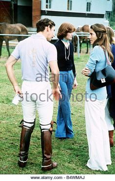 Prince Charles with Lady Sarah Spencer blue jeans and Mrs H Barantes at Cowdray Park Polo July 1977 - Stock Image