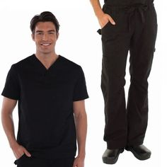 White Koi Men's Set in Black consist of Set Consists of Koi Jason Top with a Henley neckline, plenty of pockets: 2 side, 1 sleeve and 1 chest. And Koi James Trousers that has a zip-fly drawstring close, an elasticated waistband, deep pockets and adjustable hem. £54.99 #dentalscrub #scrubset #malescrub #uniforms #medicaluniform #scrubs #blackuniform