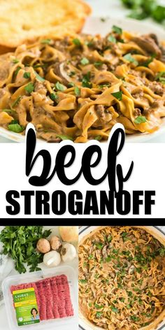 This hearty classic ground beef stroganoff is a delicious family favorite with flavorful ground beef, a rich, creamy sauce all layered over tender egg noodles!