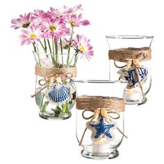 Bring nautical appeal to your coffee table or mantel with this glass decor, showcasing a seaside-inspired motif and burlap accent. Block Island, Burlap Bows, Glass Candle, Jar Candle, Nautical Theme, Nantucket, Joss And Main, Beautiful Homes, Candle Holders
