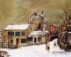 Maurice Utrillo The Lapin Agile In The Snow oil painting reproductions for sale