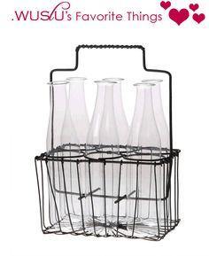 $16.50 {WUSLU's Favorite Things} Metal Basket with Glass Vases ~Enjoy one decor deal a day from WUSLU ~www.wuslu.com