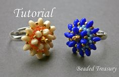 """Items similar to Beadweaving tutorial for """"Flora"""" Ring / Bead pattern / Beading tutorial / Ring tutorial / Solo beads tutorial / Beadwoven ring TUTORIAL ONLY on Etsy Jewelry Patterns, Beading Patterns, Ring Tutorial, Beads Tutorial, Beaded Rings, Beading Tutorials, Beaded Flowers, Bead Weaving, Flora"""