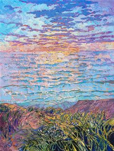 Torrey Pines seascape oil painting by local impressionist artist and oil painter Erin Hanson Erin Hanson, Impressionist Artists, Impressionism Art, Contemporary Art Prints, Fine Art Prints, Landscape Art, Landscape Paintings, Painting Inspiration, Art Inspo