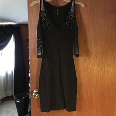 GUESS black club dress Black tight dress. Rhinestone embellishments. Open shoulders, 3/4 sleeves. Guess Dresses Mini