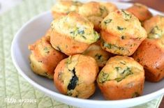 Feta-spinach mini muffins - I wanted to put together some savoury muffins to put in my sons lunch box. I had some baby spinach in the fridge as well as some feta cheese that needed to be used up, so I thought I would try a sp...