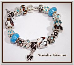 EUROPEAN STYLE silver CHARM BEAD BRACELET blue and brown  $26.99
