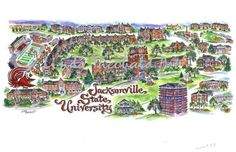 A Map of Jacksonville State University in Jacksonville, Alabama.