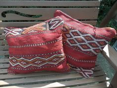 2 Traditional Berber Moroccan Cushion Covers Red 100% Wool