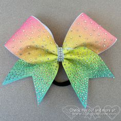 Spring Bling Bow, Rainbow Bow, Cheer Bow