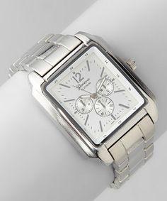 Look what I found on #zulily! Silver Rectangle Boyfriend Chronograph Watch #zulilyfinds