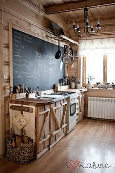 Rustic Kitchen- LOVE this chalkboard in the kitchen!!