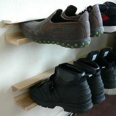 Get Your Shoes Off the Floor with a DIY Floating Shoe Rack made with wood shelving