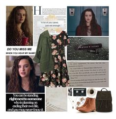 """""""13 Reasons Why: Hannah Baker."""" by dovequinn ❤ liked on Polyvore featuring injury, CASSETTE, H&M, Topshop and Les Néréides"""