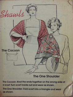 Shawls (Scarf tying - pg - Gale H. Ways To Wear A Scarf, How To Wear Scarves, Turbans, Scarf Knots, Tying A Scarf, Vintage Patterns, Sewing Patterns, Bandana Scarf, Scarf Belt