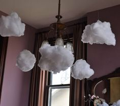 Puffy clouds, cute idea for a baby shower, just add some baby rain! Or wedding shower and give out little umbrellas!