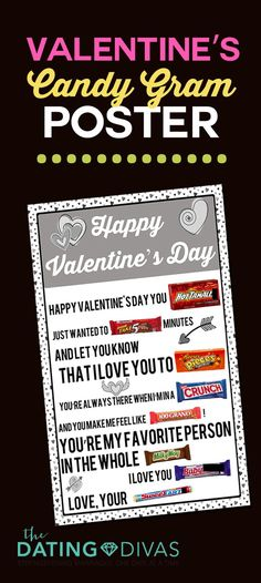 Four Printable Candy Posters PRINTABLE Valentine's Day Candy Gram! Just print as a large engineer print, tape on your candy bars, and DONE! So easy but so fun! Husband Valentine, Valentines Diy, Happy Valentines Day, Husband Birthday, Friend Birthday, Candy Poster Board, Candy Bar Posters, Dating Divas, Candy Poster Boyfriend