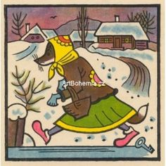 Vintage Christmas Cards, Children's Book Illustration, Childrens Books, Bali, The Past, Retro, Pictures, Vintage Stamps, Falling Down