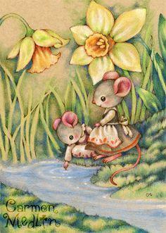 Sister Dearest - cute mouse art by Carmen Medlin