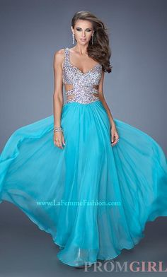 Sexy Cut Out Prom Gowns, La Femme Beaded Prom Dresses- PromGirl