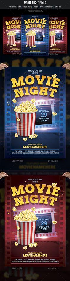 Halloween Night Flyer Template Fullmoon, Advertising and Template - movie night flyer template